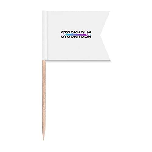 Urban Radio Stockholm Building Zahnstocher Flaggen Markierung für Party Kuchen Lebensmittel Käseplatte