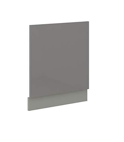 Küchen-Preisbombe Frontblende für integrierten Geschirrspüler 60 cm Grey Grau Hochglanz Vario