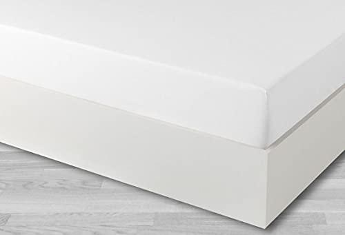 Sabana Bajera Ajustable - Tacto Super Suave- Calidad Extra - Fácil Planchado - Grosor colchón hasta 30 cm - 60% Algodón 40% Poliester (Blanco, 105x190/200 cm)