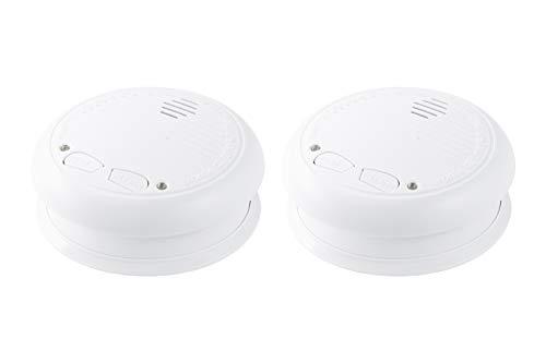 Design Rauchmelder von NO-FLAME, frühzeitiger Alarm durch fotoelektronisches Warnsystem, 2Stk. mit Halterung und Batterien, Vernetzung untereinander möglich und sofort einsatzbereit