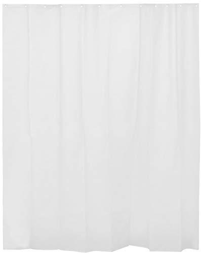 H HANSEL HOME Cortina de Ducha Lisa Blanca para baño con 12 Anillas Incluidas, 50% Goma EVA y 50% de Polietileno (180 x 200cm)