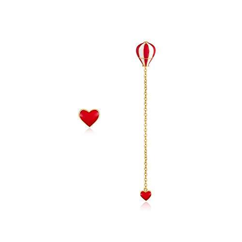 Pendientes Pendientes plata de ley 925 oreja hembra rojo amor globo aerostático regalo para estudiantes antialérgico 7 cm