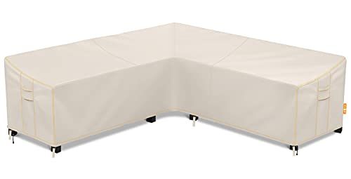 """Patio Sectional Sofa Cover, Waterproof Outdoor V-Shaped Sectional Cover,Heavy Duty Garden Furniture Cover with 600 D,Air Vent ,UV Resistant,100"""" L (on Each Side) x 35"""" H x 31.5"""" D"""
