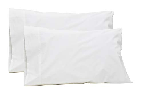100% Cotton Percale Pillowcases Queen Size, White, 2 Pillowcases, Crisp and...