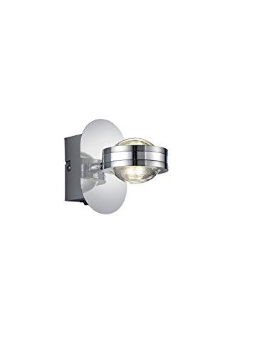TRIO, Applique, Lentil incl. 2 x LED,SMD,2,3 Watt,3000K,240 Lm. Acryl, Transparent & couleur, Corps: metal, Chrome L:12,0cm, H:7,5cm, P:13,0cm IP20,Interrupteur