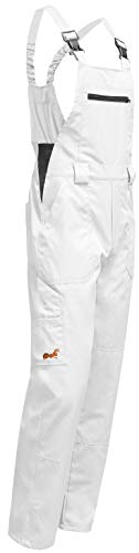 KERMEN - Peto de trabajo Hamburg 100% Algodón 245gr - Pantalones de pintor - Hecho en EU Talla: 50, Color: Blanco
