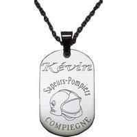 Médaille acier gravée personnalisée casque pompier +votre prénom et votre caserne + chaine acier