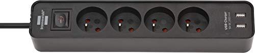 Brennenstuhl 1153241006 - Regleta con 4 enchufes cargadores USB y 1,5 m de cable, color negro