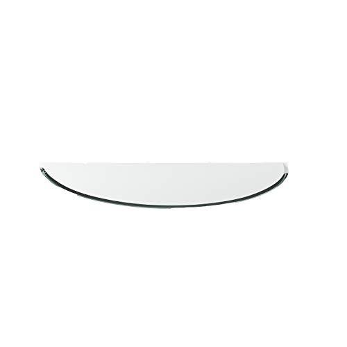 Funkenschutzplatte G28 Rundbogen ESG 6mm x 500mm x 1000mm mit 18mm Facette Glasplatte Bodenplatte Kaminplatte Funkenschutz Ofenplatte Kaminglas