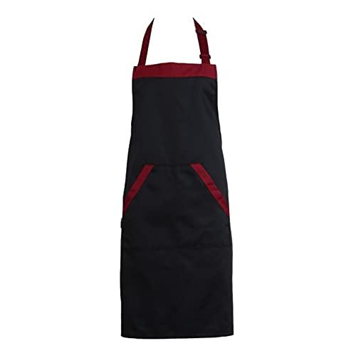 WMA Kitchen APron Cooking Chef Catering Babero Con Cuello Halter Y 2 Bolsillos Delantales Sin Mangas Para Mujer Hombre Negro Rojo-China, Negro