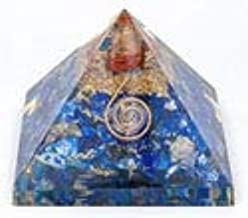 FASHIONZAADI Lapis Lazuli Orgone Pyramid with Crystal Point & Copper Spiral for Chakra Balancing Gemstone Energy Reiki Healing Meditation EMF Protection Stone Crystals Vastu Meditation Size 3-3.5 inch