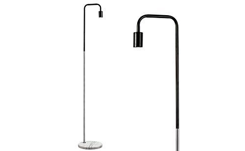 MiniSun – Moderne vloerlamp met een tweekleurige afwerking in zwart en chroom en een wit marmeren voet inclusief kabel en stekker – Metalen vloerlamp
