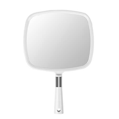 Fiocchi di neve grande specchio a mano con maniglia da appendere a mano specchio parrucchiere specchio (bianco)