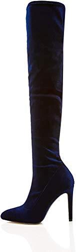 find. Botas de Tacón por Encima de la Rodilla Stretch de Terciopelo Mujer, azul (navy), 38
