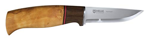 Helle Knives - Harmoni - Triple Laminated Stainless Steel Fixed Blade - Curly Birch, Walnut & Leather Handle - Leather Sheath - Field Knife for Camping, Fishing, Hunting, Men & Women - Made in Norway
