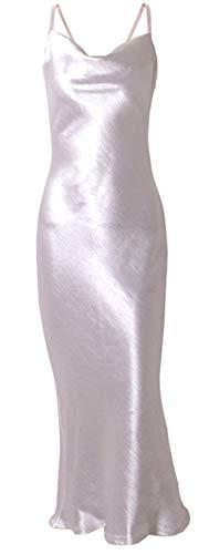 SZIVYSHI Ärmelloser Spaghettiträger Wasserfallausschnitt Rückenfreie Langes Lange Lang Maxi Maxikleid Bodycon Etui Etuikleid Figurbetontes Fishtail Mermaid Meerjungfrau Kleid Weiß S