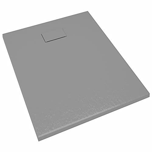Tidyard Plato de Ducha Rectangular Plato de Ducha Antideslizante para Mamparas de Baño SMC Gris 100x80 cm