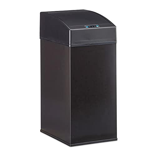 Relaxdays, schwarz Sensor Mülleimer, Automatikdeckel, Inneneimer mit Griff, hygienisch, 7 L, Stahl, HBT: 35 x 15 x 20 cm, Standard