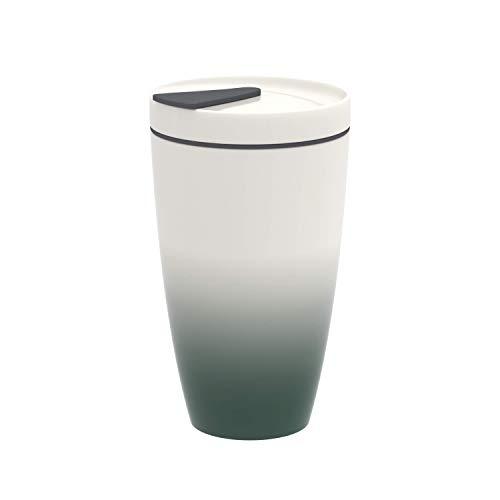 like. by Villeroy & Boch To Go Becher green, 350 ml, Premium Porzellan/Silikon, Weiß/Grün