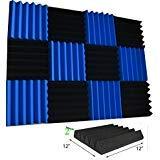 Baldosas para insonorización, color azul y negro, de gomaespuma, de 5x30x30 cm, paquete de 12 unidades.