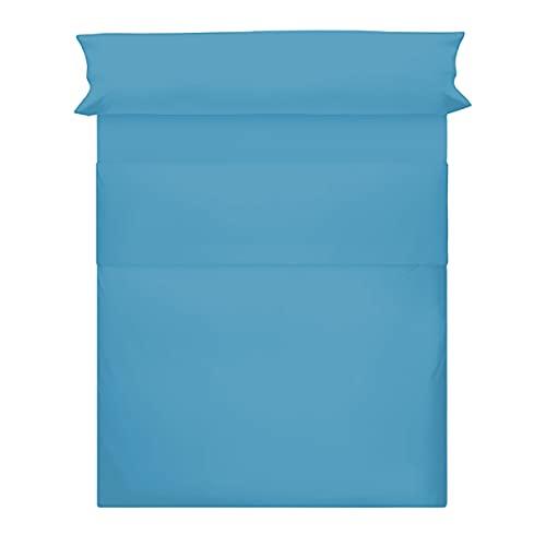 Juego de Sábanas 50% Poliéster + 50% Algodón 3 Piezas para Cama de 90 - 135 - 150, 1 Encimera + 1 Bajera Ajustable+ 1 Funda Almohada Color Liso (Azul, 90 cm)