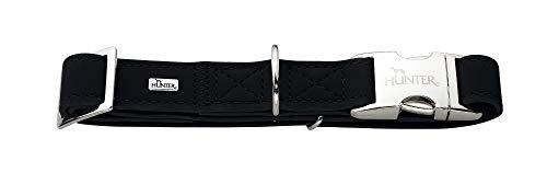 HUNTER SOFTIE ALU-STRONG Hundehalsung, Hundehalsband, Kunstleder, Aluminium Klickverschluss, M, schwarz