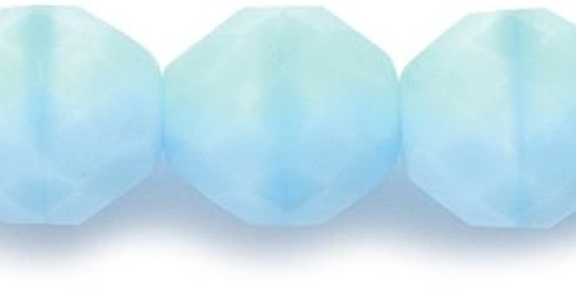 Preciosa Czech Fire 10mm Polished Glass Bead, Faceted Round, Satin Blue, 50-Pack