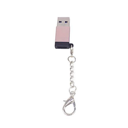 Gszfsm001 - Adaptador hembra tipo C a USB macho, conector de aleación de aluminio con llavero, compatible con tableta, teléfono, unidad flash u
