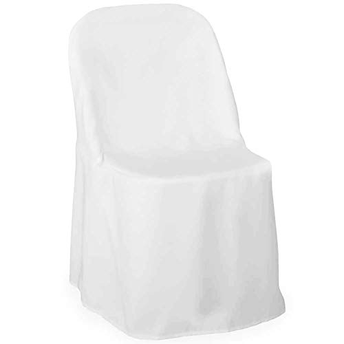 Lann's Linens - 10 Elegant Wedding/Party Folding Chair Covers - Polyester Cloth - White