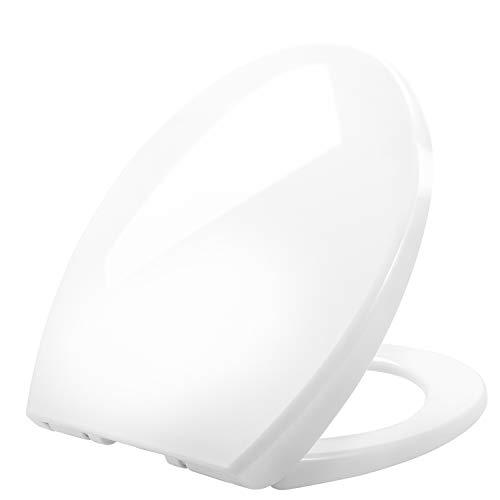 Toilettendeckel, Renfox WC Sitz mit Absenkautomatik, Quick Release Funktion, oben und unten einfach befestingung, Antibakteriell Klodeckel PP mit verstellbaren Scharnieren, O Form weiß