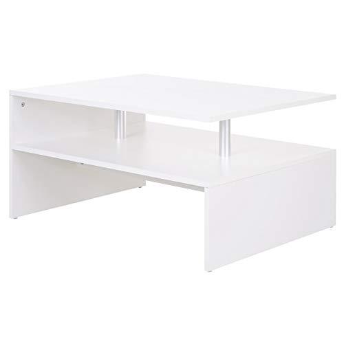 homcom Tavolino da Salotto caffè Basso a 2 Livelli Arredamento Moderno in Legno e Alluminio, Bianco, 90x60x42cm