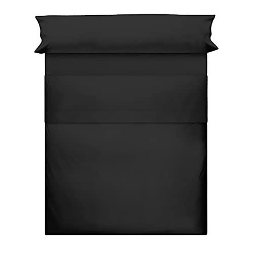 Juego de Sábanas 50% Poliéster + 50% Algodón 3 Piezas para Cama de 90 - 135 - 150, 1 Encimera + 1 Bajera Ajustable+ 1 Funda Almohada Color Liso (Negro, 150 cm)