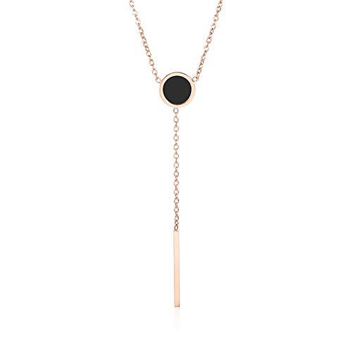 Titanio Collar Colgante de Disco Moda Cadena de la clavícula para Esposa Hermana Madre Regalos de joyería