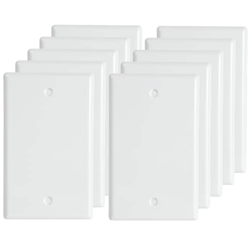 Blank Outlet Covers Standard Size Wall Plate Electrical Outlet Cover Plates, 1-Gang No Device Blank Wall Plate, White (10-Pack)