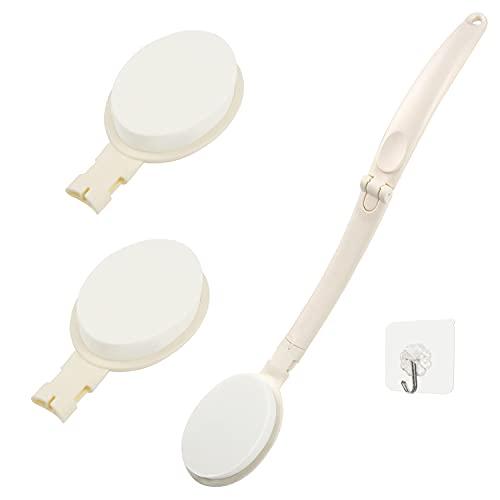 SUNMEG Eincremehilfe für Rücken, Faltbarer, Langstieliger Lotion Applikator für den Körper mit Zwei Zusätzlichen Austauschbaren Rücken Bürste Köpfe