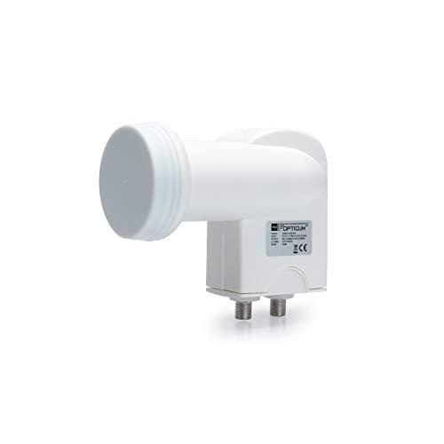 RED OPTICUM Robust Twin LNB I Hitze- & kältebeständiger Digital-LNB 2-fach mit nur 0.1dB Rauschmaß und ausziehbarem Wetterschutz I Full HD - 3D - UHD - 4K Ready I Twin LNB für 2 Teilnehmer weiß
