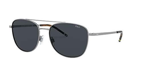 PH3127 Óculos de sol retangulares de metal, bronze/cinza, 57 mm