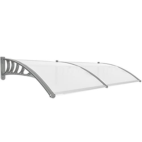 PrimeMatik - Tejadillo de protección 200x90cm Marquesina para Puertas y Ventanas Gris