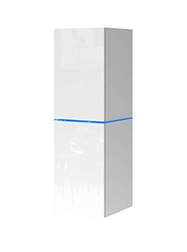 DOMTECH Wohnwand, Weiß Hochglanz mit LED-Beleuchtung Hängeschrank Hängeboard Hochglanz Wandschrank hängender Schrank Modernes Wohnzimmer TV Board hängend