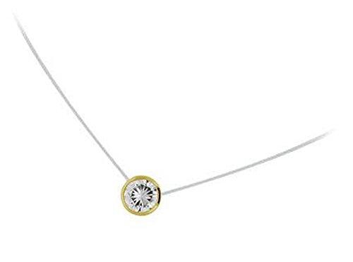 Halskette Nylonband Anhänger, vergoldet und Zirkonia Runde Form Solitaire Kreis–3mm–Schmuck Damen
