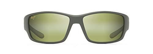 Maui Jim Local Kine con lentes polarizadas2 patentadas PolarizedPlus2 anteojos de sol envolvente, color caqui mate/marrón/negro/Maui HTTM polarizadas, grande