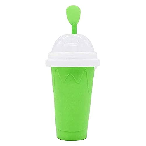 Slushy Ice Cream Maker Squeeze Slush Taza de Enfriamiento Rápido Botellas de Batido Slushie DIY Frozen Smoothies Cup Double Layer Homemade (Color : Green)