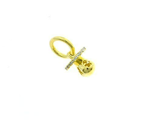 Colgante Chupete mediano perforado diseño infantil de plata 925Sterling hipoalergénico chapado en oro amarillo Peso 3,1g Longitud Colgante 1,8cm