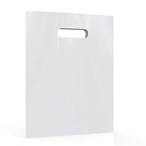 White Merchandise Plastic Shopping Bags - 100 Pack 12' x 15'with 1.25 mil Thick | Die Cut Handles | Perfect for Retail Shops, Party Favors, Birthdays, Children Parties | Color White | 100% Recyclable
