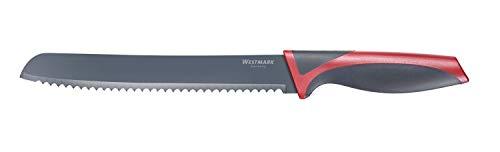 Westmark Cuchillo para pan, Con hoja dentada larga, Longitud de la hoja 20 cm, Con protección de la hoja, Acero inoxidable/plástico, Antracita/rojo, 14552280