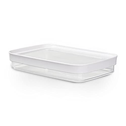 EMSA 513560 Aufschnittsbox Optima   Für Trockenvorräte   0,7 L   Stapelbar   Rechteckig   100 % keimfrei   Frische-Dichtung   100 % Sicher   Weiß/ Transparent