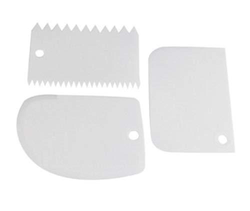 SJYM 3 stks/set Hot Kleurrijke Multifunctionele Onregelmatige Tanden Rand DIY Crème Schraper Set Taart Spatels Mold Bakken Tools, WIT