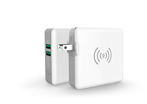 SuperMobileCharger Lite モバイルバッテリー コンセント付 AC内蔵 qi ワイヤレス充電 USB-A 2ポート 5200m...