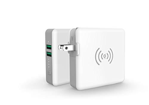 SuperMobileCharger Lite モバイルバッテリー コンセント付 AC内蔵 qi ワイヤレス充電 USB-A 2ポート 5200mAh 軽量 iPhone USB ACアダプター 携帯充電器 iPad