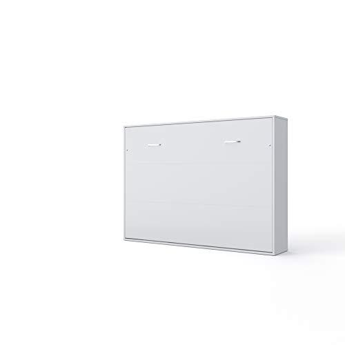 Invento Schrankbett Wandklappbett Horizontal Wandbett Bettschrank Funktionsbett Gästebett Klappbar Schrank mit integriertem Klappbett Gästezimmer Wohnzimmer Schlafzimmer 140x200 (Weiß/Weiß Matt)